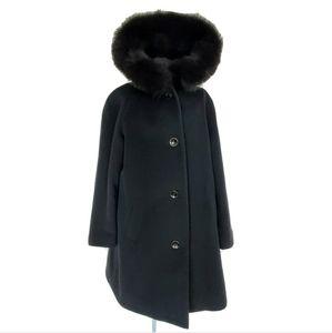 Kristen Blake Black Wool & Fox Trim Hooded Coat 8